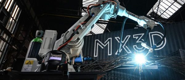 Steel-welding autonomous 3D printing robot developed by Amsterdam MX3D to print a steel-metal bridge